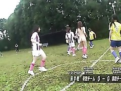 Sexy naked Asian soccer playing babes on the field