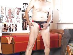 sexy wetlook string schwarzrot