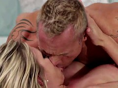 luscious blonde moans while getting humped in bed hardcore