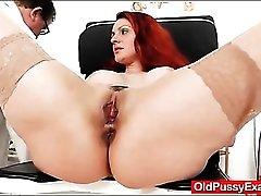 Big boobs milf redhead gets a pussy exam