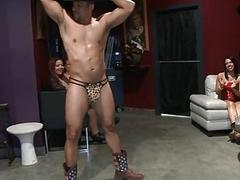 Lucky playgirl gets to suck a gracious studs cock