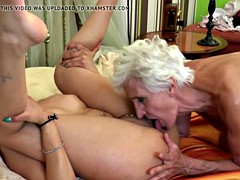 Hairy old granny licks and fucks young girl