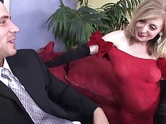 Sexy red dress stockings for cougar (TOP MATURE)