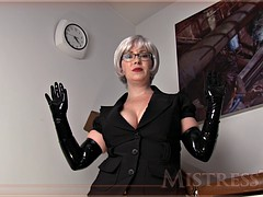 naughty mistress in leather gloves is re for freaky action