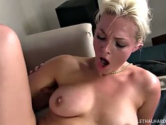 Slutty blonde with fantastic ass gets her ruined love hole
