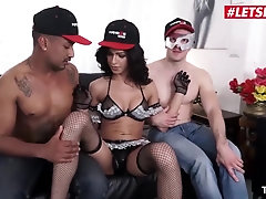 LETSDOEIT - Big-Boobed Shemale Has Raunchy Orgy With 2 Ultra-Kinky Men
