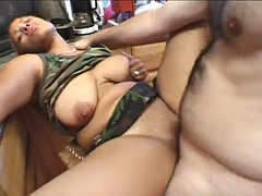 delightful ebony with big tits getting her shaved pussy banged doggystyle in interracial sex