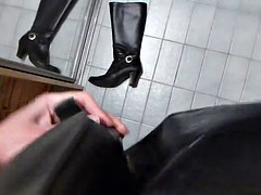 cum on boots of leather handcuffs