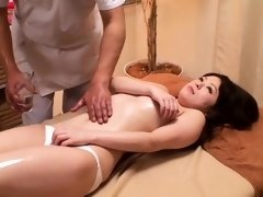 Lovely Asian babes get their pussies fingered by a masseur