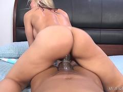 This blonde tart is ready to gobble and ride on that black monster shaft