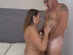 Brunette mature gets facialed after getting fucked hard