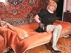 Lush thick mature Russian shemale sucks on a fat dick
