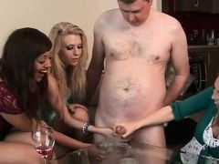 Cute cfnm chicks jerk off dork