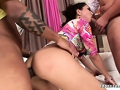 Slut gets DPed by two guys with big cocks