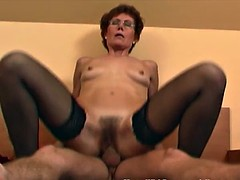 Redhead granny in stockings fuck laced young dick