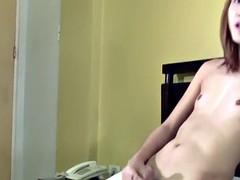 tattooed pinay tgirl wanks her hard dong