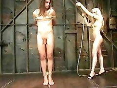 Blonde tranny mistress ass fucks her tied up slave boy