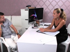 Female agent in pantyhose banged cast