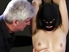Sexy slut tied up and whipped by old thug BDSM