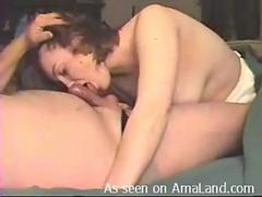 A cock hungry wife is willing to blow that thick member and then to get it on in various poses with this horny fellow