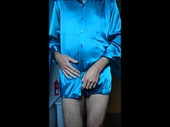 Wanking and cumming on satin blouse