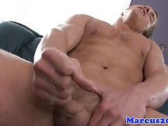 Dreamy hunk jacking off until cumming