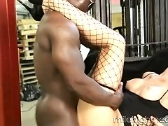Pretty shemale gets fucked by a big black cock