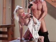 Rousing white girl gets her face fucked by BDSM slavemaster