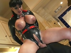 British Slut With Big Tits In Latex Fucked In The Kitchen