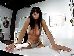 Big tits babe in lace panties masturbates at the desk