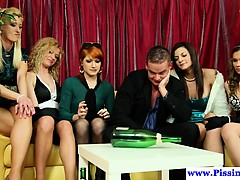 Classy euro pisses and cockrides in group