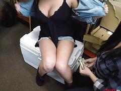 Lesbian couple horny 3some with pawn guy