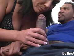 Cuckold Licks Pussy While a Black Anals His Wife