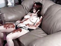 Furry redhead plays like a naughty werewolf