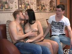 shes grinding his cock and hes getting off fast