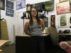 Hot amateur babe with glasses banged by nasty pawn dude
