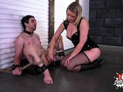 Hot pornstar bound and cumshot