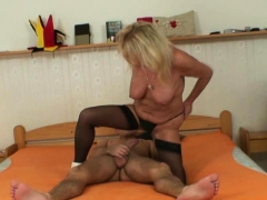 Old granny rides his horny meat