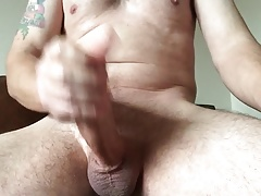 Lubed up cock with cum