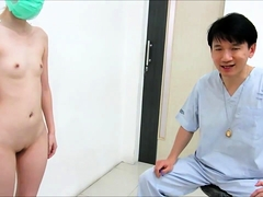 Slim Oriental babe exposes her body in the doctor's office