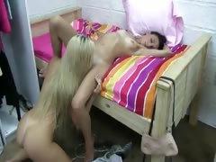 Horny beautiful lesbians licking vaginas