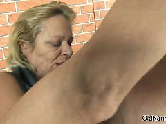 Dirty old slut goes crazy sucking part2