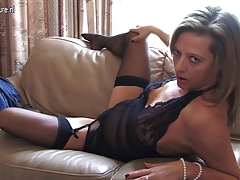 Hot cougar mom playing with herself