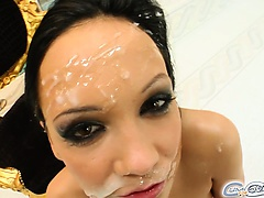 The beautiful Regina is the perfect addition to the CumForCover.com roster. She orally pleasures five guys and takes for loads on her face