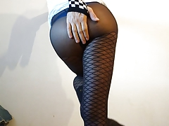 sissy crossdresser in fishnet stockings