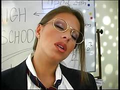 Horny Teacher Rubs Her Pussy On The Desk