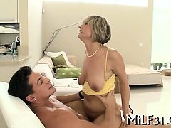 Horny darling gives wet blowjob