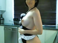 brunette milf maid costume kitchen show