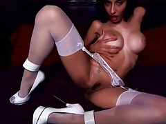 Playing my tight shaved pussy