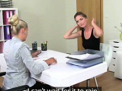 Female agent licking with hot amateur on casting